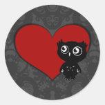 Amor III del búho Pegatina Redonda