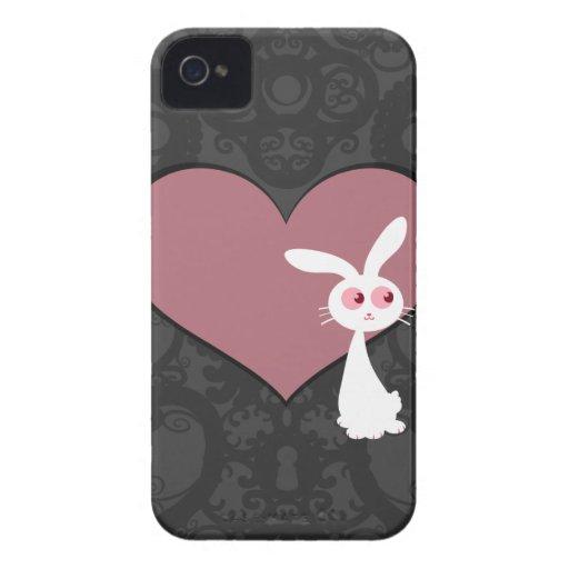 Amor III del conejito de Shiro Case-Mate iPhone 4 Protectores