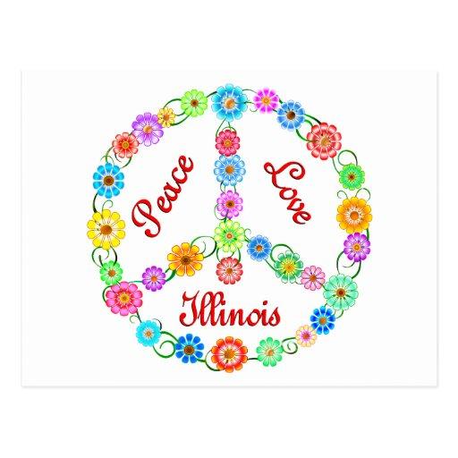 Amor Illinois de la paz Tarjeta Postal