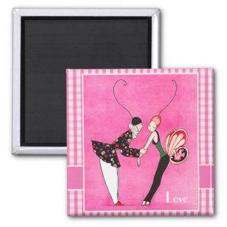 Amor. Imanes del regalo del el día de San Valentín Imán Cuadrado