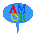 AMOR in Bright Colors Cake Topper