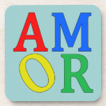 AMOR in Bright Colors Drink Coasters