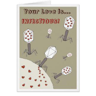 Amor infeccioso tarjeta de felicitación