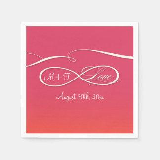 Amor infinito de la muestra del símbolo del servilletas de papel