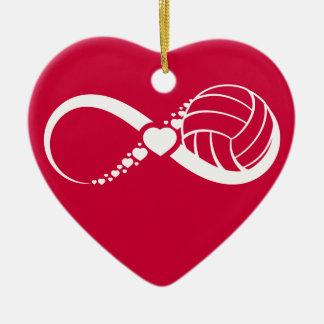 Amor infinito del voleibol adorno de cerámica en forma de corazón