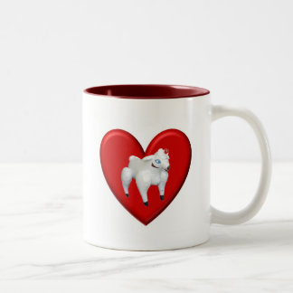 Amor inflable de las ovejas taza de café de dos colores