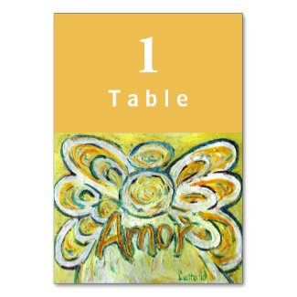 Amor Inspirational Word Angel Custom Table Cards