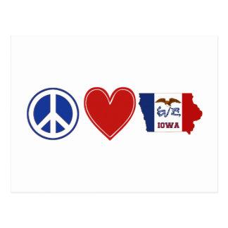 Amor Iowa de la paz Tarjeta Postal