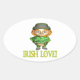 Amor irlandés calcomanía de óval personalizadas