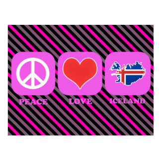 Amor Islandia de la paz Tarjetas Postales