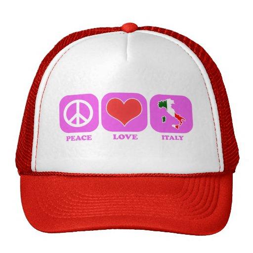 Amor Italia de la paz Gorras