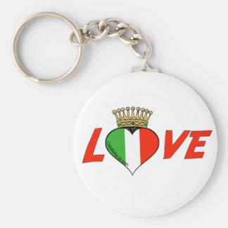 Amor italiano coronado llavero redondo tipo pin