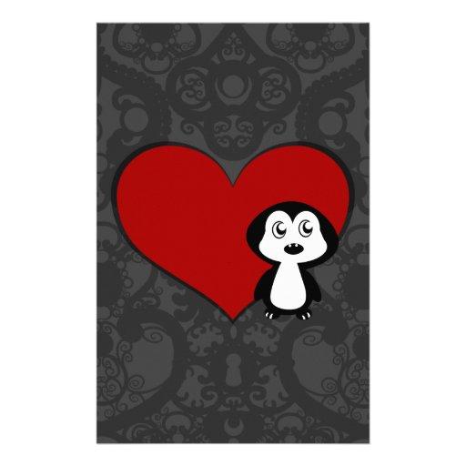 Amor IV del pingüino Personalized Stationery
