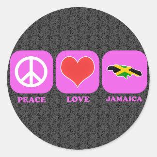Amor Jamaica de la paz Pegatina Redonda