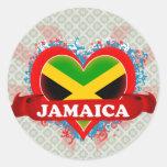 Amor Jamaica del vintage I Pegatina Redonda