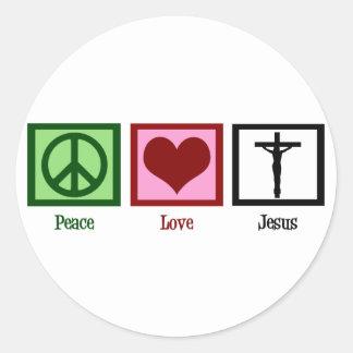 Amor Jesús de la paz Pegatina Redonda