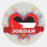 Amor Jordania del vintage I Pegatina Redonda