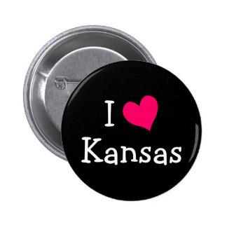 Amor Kansas del rosa I Pin Redondo De 2 Pulgadas