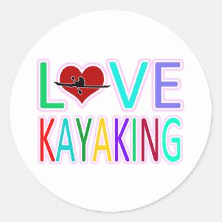 Amor Kayaking Pegatina Redonda