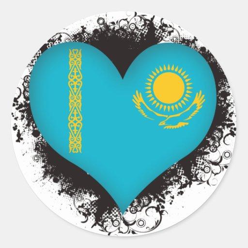 Amor Kazajistán del vintage I Pegatina Redonda