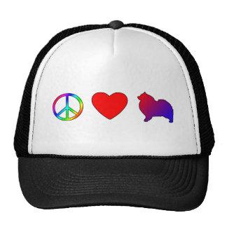 Amor Keeshonden de la paz Gorras