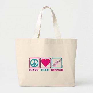 Amor Keytar de la paz Bolsa Tela Grande