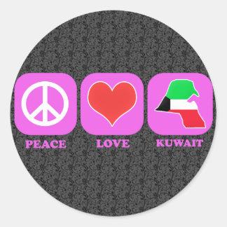 Amor Kuwait de la paz Pegatina Redonda