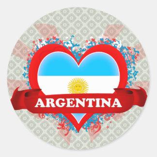 Amor la Argentina del vintage I Pegatina Redonda