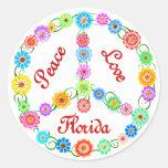Amor la Florida de la paz Pegatinas Redondas
