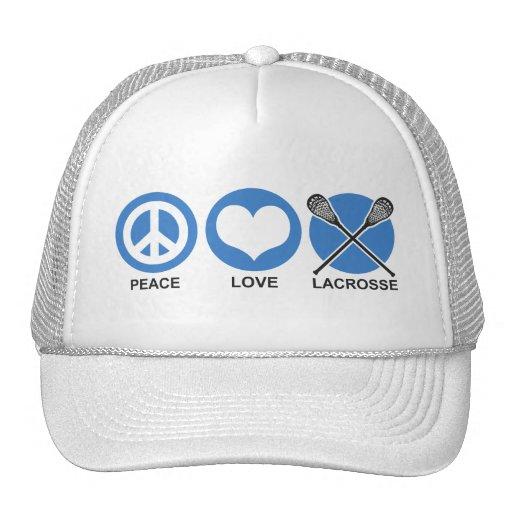 Amor LaCrosse de la paz Gorras