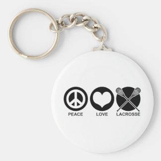 Amor LaCrosse de la paz Llavero Redondo Tipo Pin