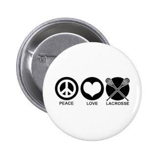 Amor LaCrosse de la paz Pin Redondo De 2 Pulgadas