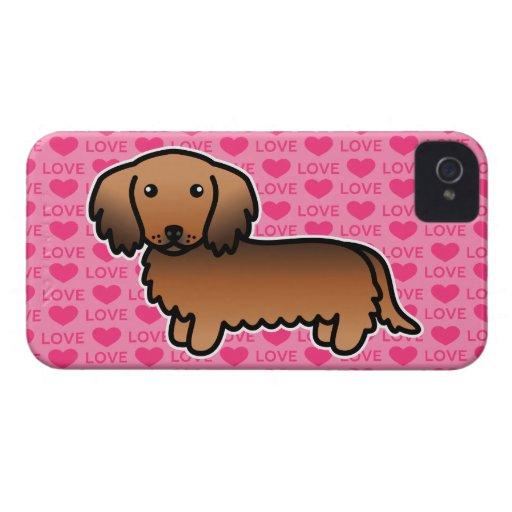 Amor largo del Dachshund de la capa del Sable rojo iPhone 4 Case-Mate Fundas