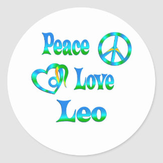 Amor Leo de la paz Pegatinas Redondas