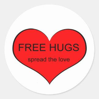 Amor libre de la extensión de los abrazos pegatina redonda