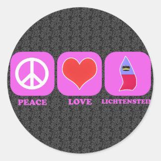Amor Lichtenstein de la paz Pegatina Redonda