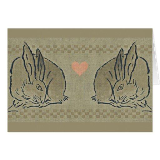 Amor - liebres amorosas de la primavera tarjeta pequeña