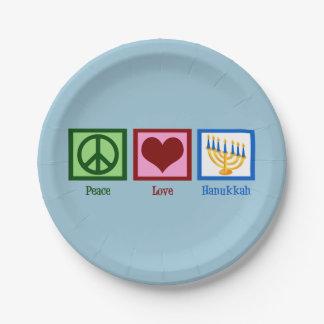 Amor lindo de la paz de Jánuca Plato De Papel De 7 Pulgadas