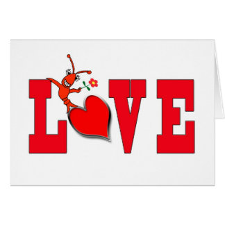 Amor lindo de los cangrejos/de la langosta con la  felicitación