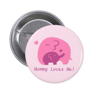 Amor lindo de los padres del elefante y de la mamá pin redondo 5 cm
