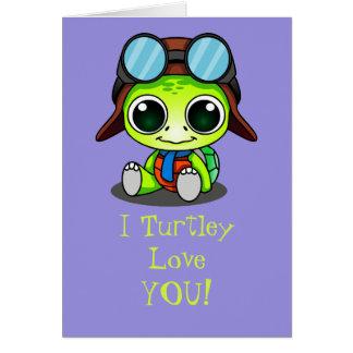 Amor lindo de Turtley del dibujo animado de Chibi Tarjeta De Felicitación