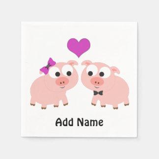 Amor lindo del cerdo servilletas desechables