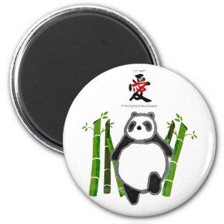 Amor lindo del dibujo de la tinta de la panda imán redondo 5 cm