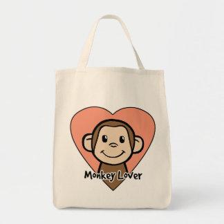Amor lindo del mono de la sonrisa del clip art del bolsa tela para la compra