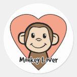 Amor lindo del mono de la sonrisa del clip art del etiquetas redondas