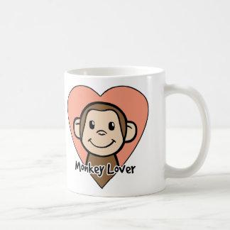Amor lindo del mono de la sonrisa del clip art del taza básica blanca