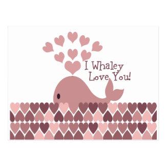 ¡Amor lindo del whaley de I usted! diseño Postal