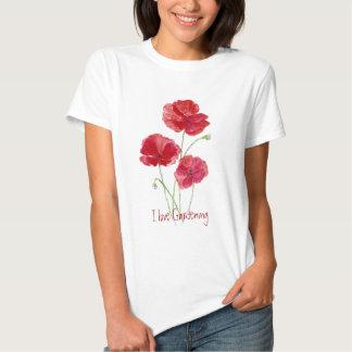 Amor lindo que cultiva un huerto, amapolas rojas remera