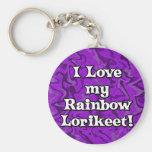 Amor loco de la púrpura I mi llavero de Lorikeet d