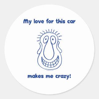 Amor loco para los coches etiquetas redondas